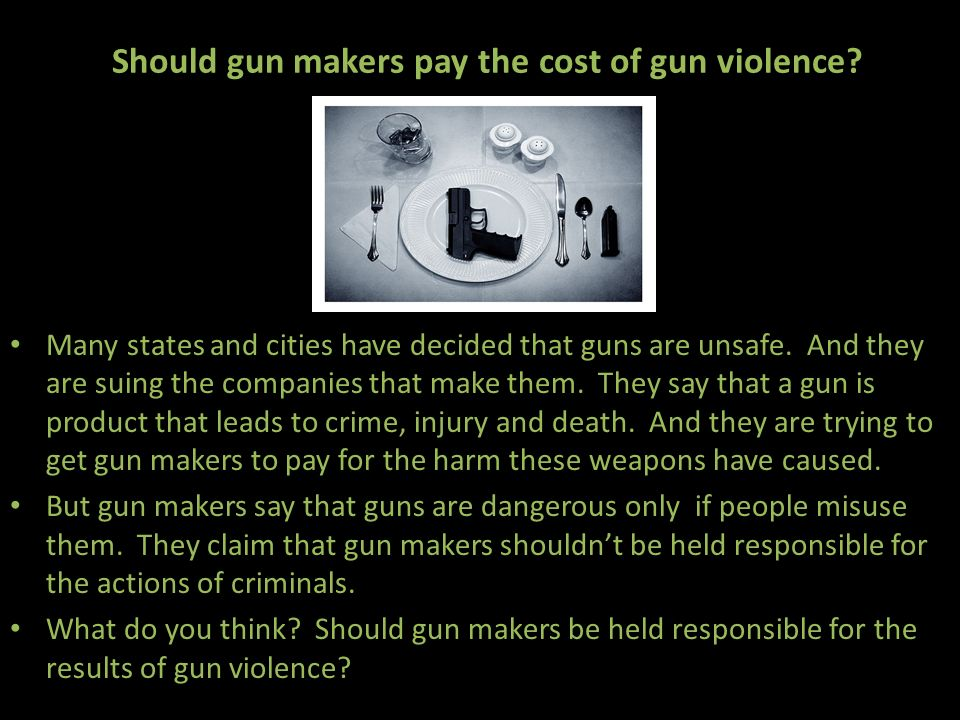 Should gun makers pay the cost of gun violence