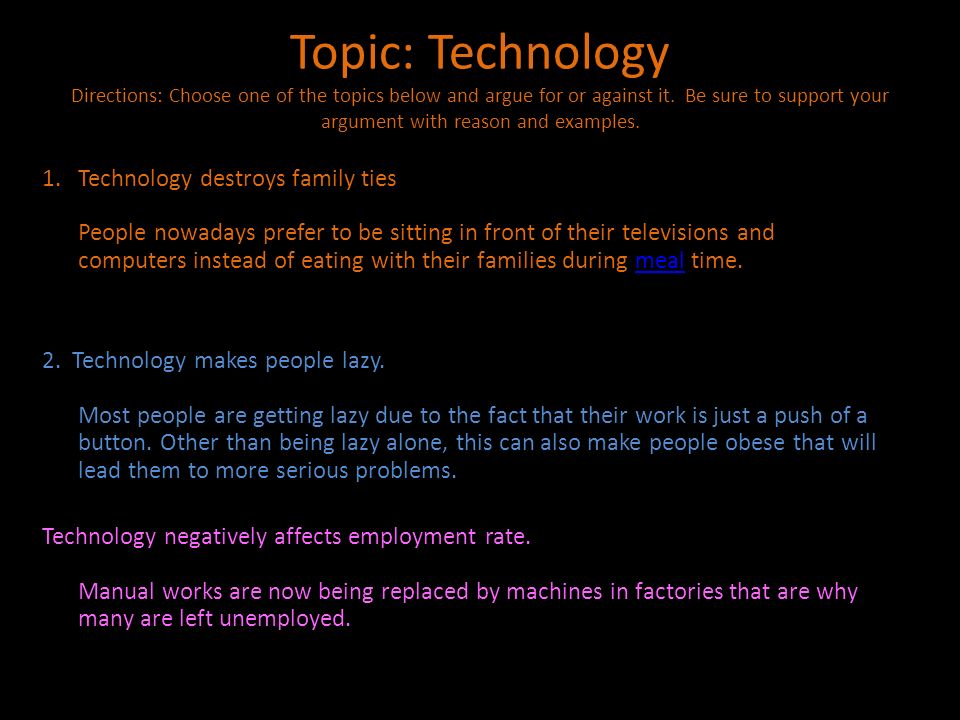 Topic: Technology Directions: Choose one of the topics below and argue for or against it. Be sure to support your argument with reason and examples.