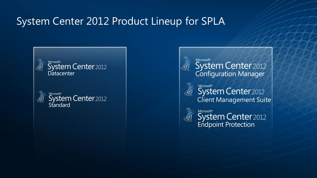 System Center 2012 Product Lineup for SPLA