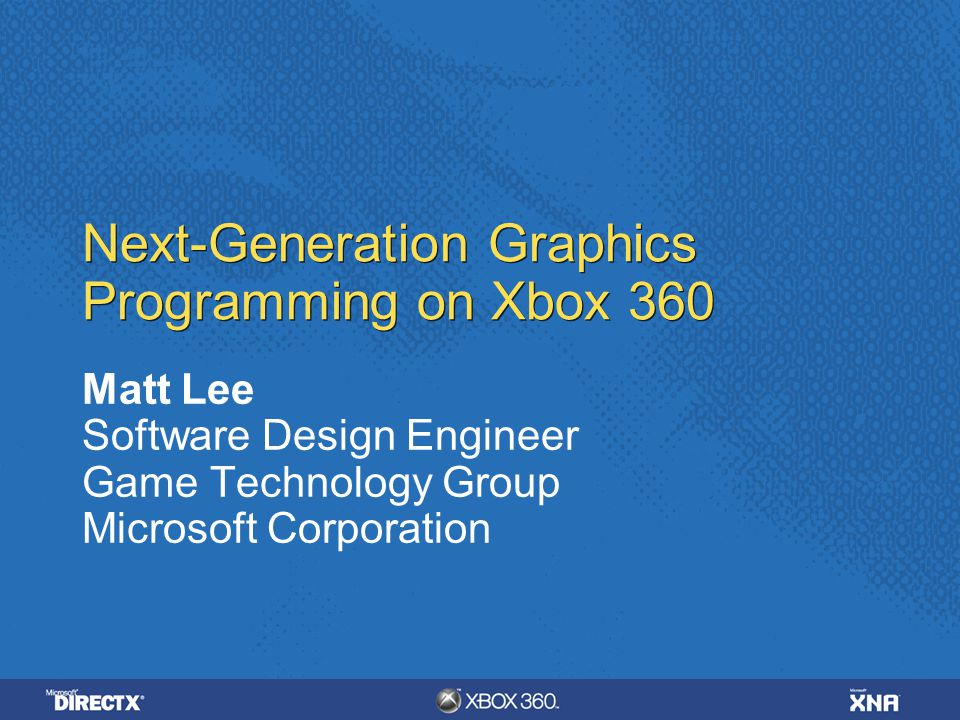 Next-Generation Graphics Programming on Xbox 360