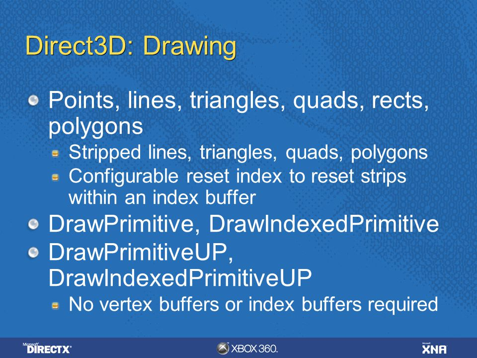 Direct3D: Drawing Points, lines, triangles, quads, rects, polygons