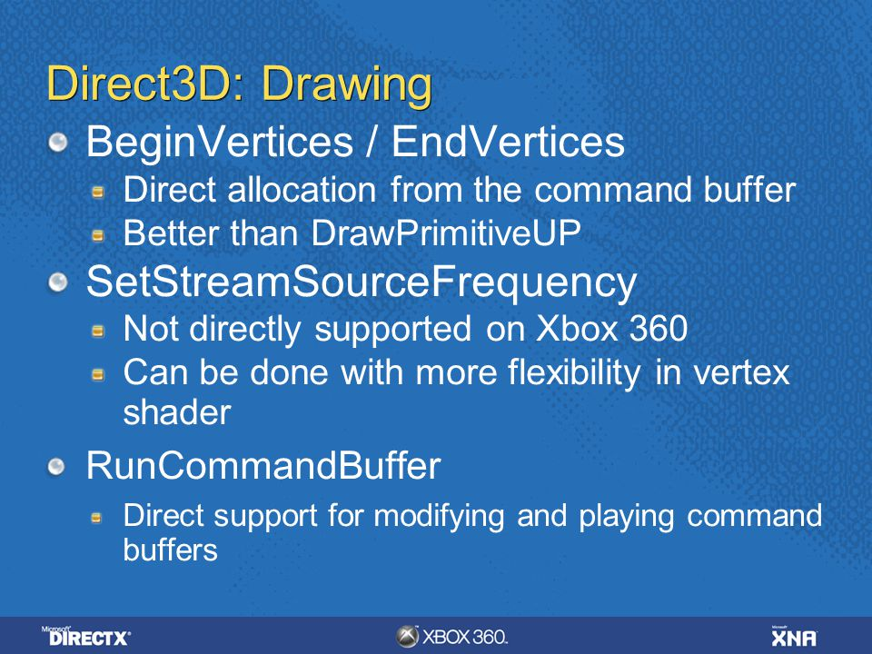 Direct3D: Drawing BeginVertices / EndVertices SetStreamSourceFrequency