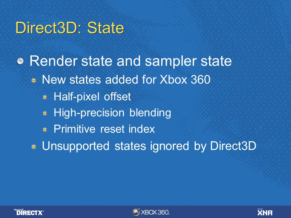 Direct3D: State Render state and sampler state