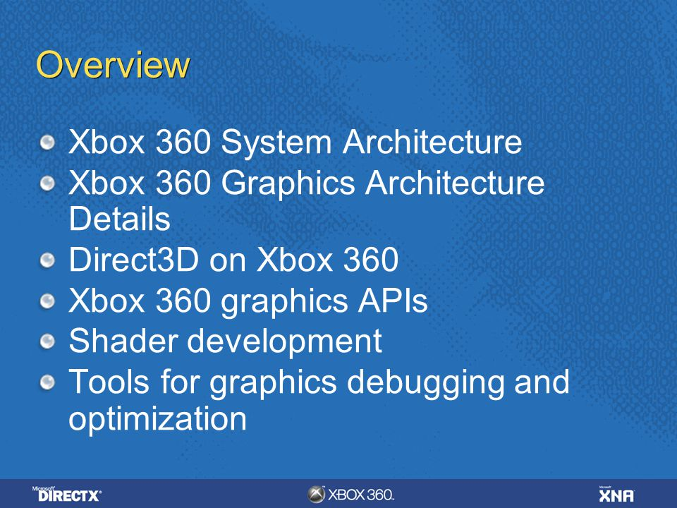 Overview Xbox 360 System Architecture