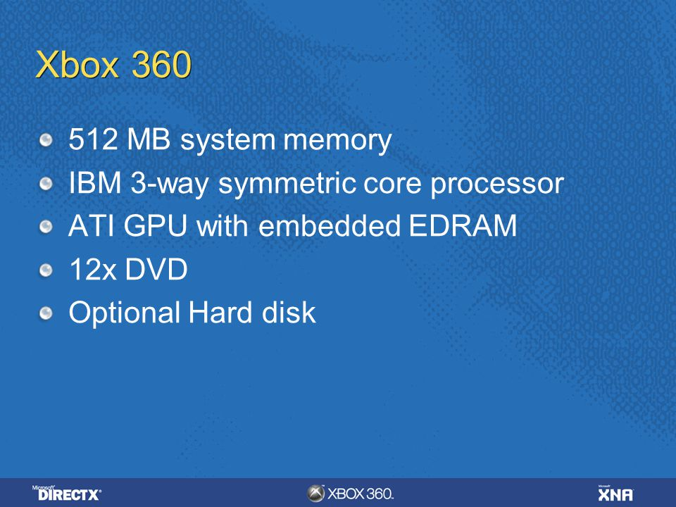 Xbox MB system memory IBM 3-way symmetric core processor