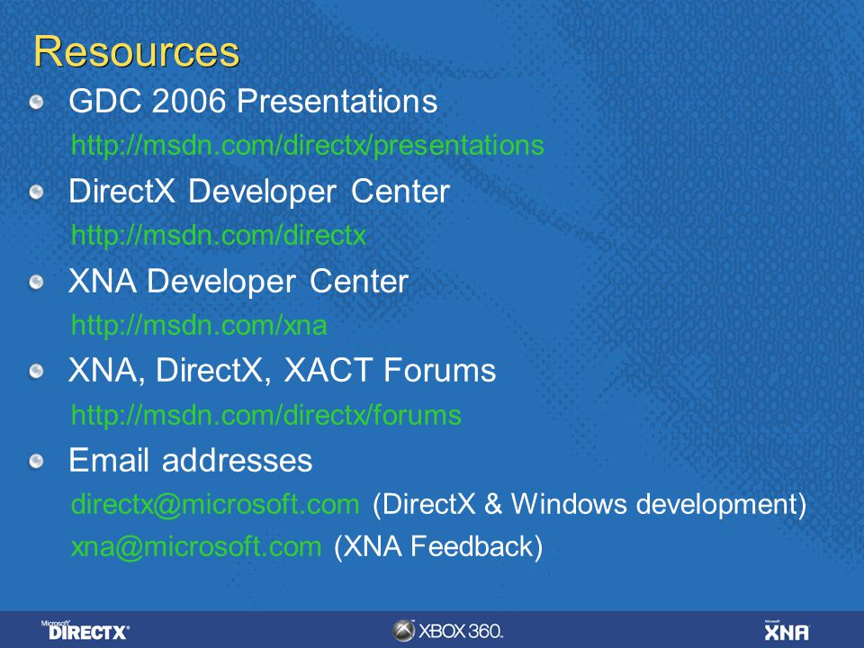 Resources GDC 2006 Presentations DirectX Developer Center