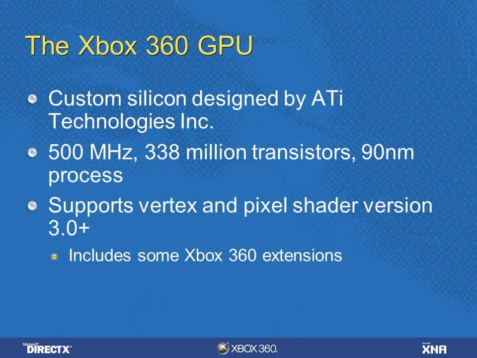 The Xbox 360 GPU Custom silicon designed by ATi Technologies Inc.