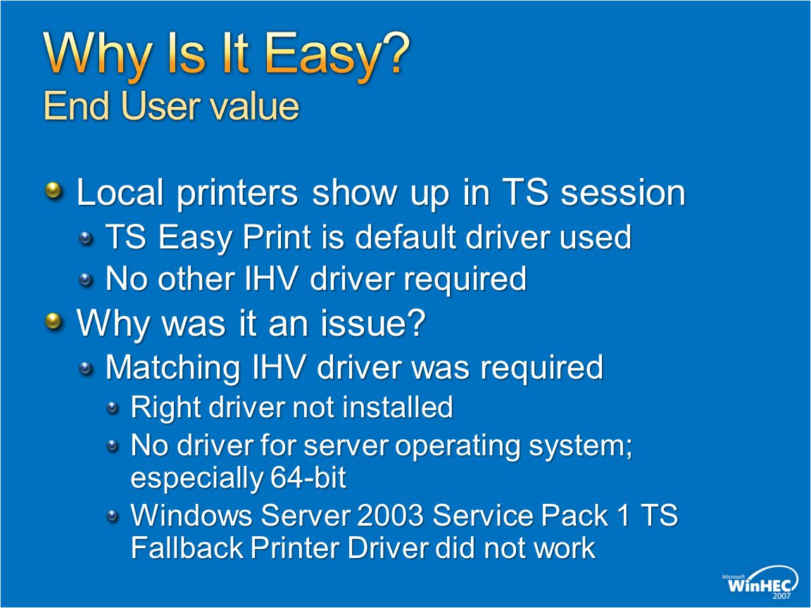 Why Is It Easy End User value