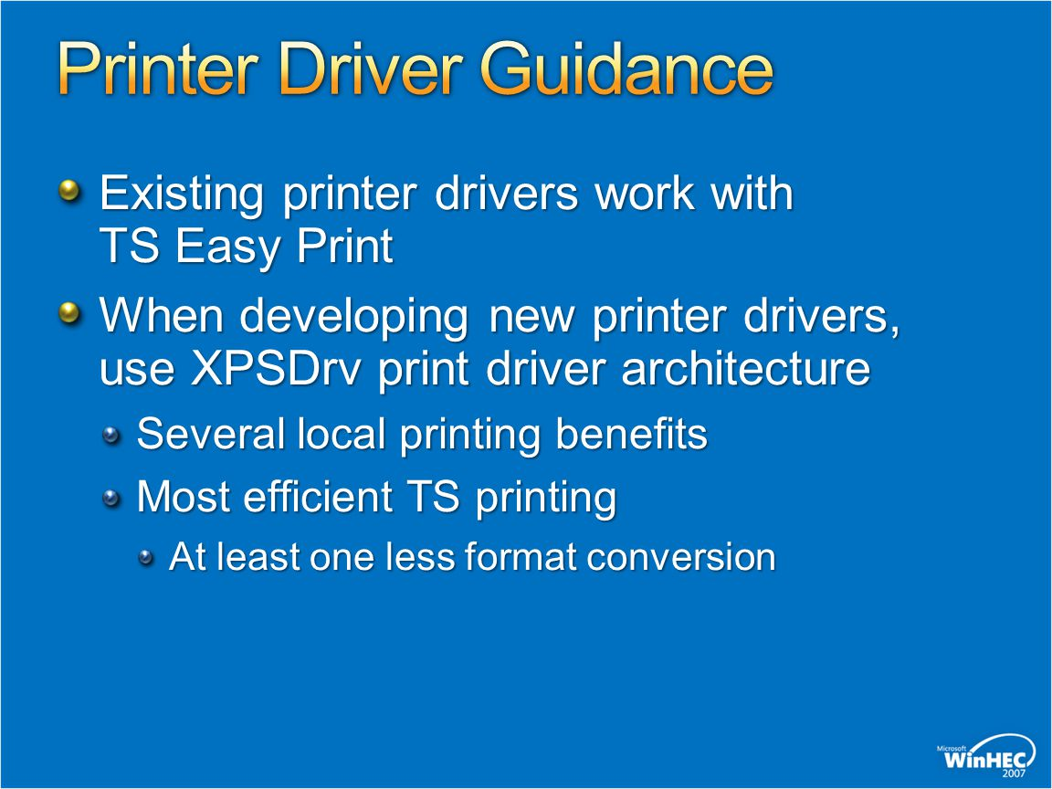 Printer Driver Guidance