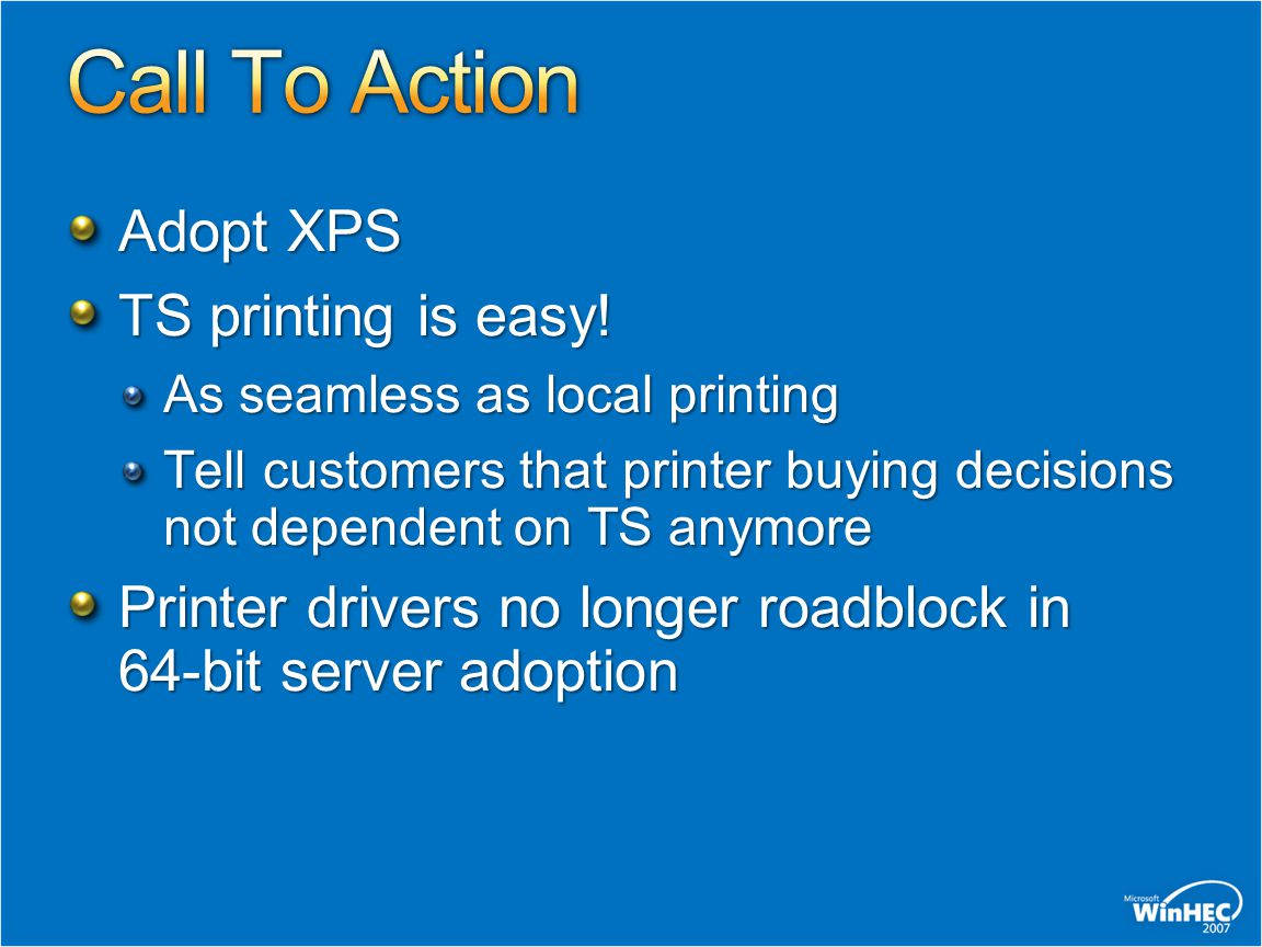 Call To Action Adopt XPS TS printing is easy!
