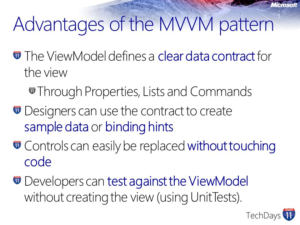 Advantages of the MVVM pattern