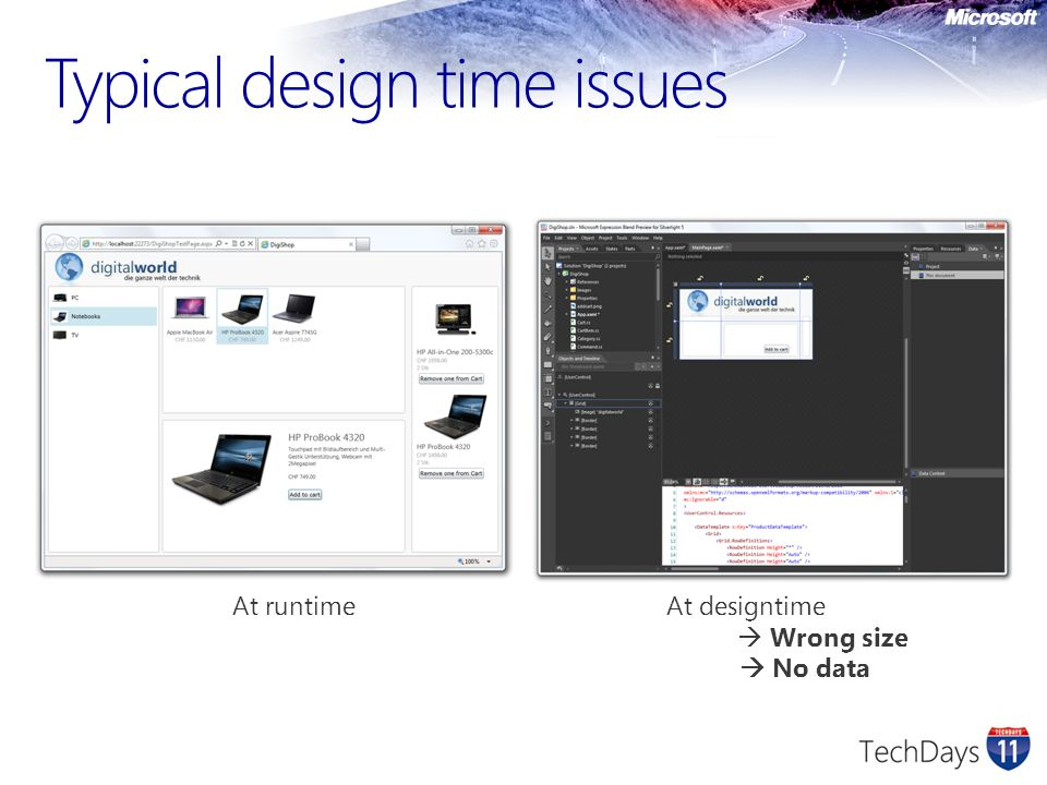 Typical design time issues