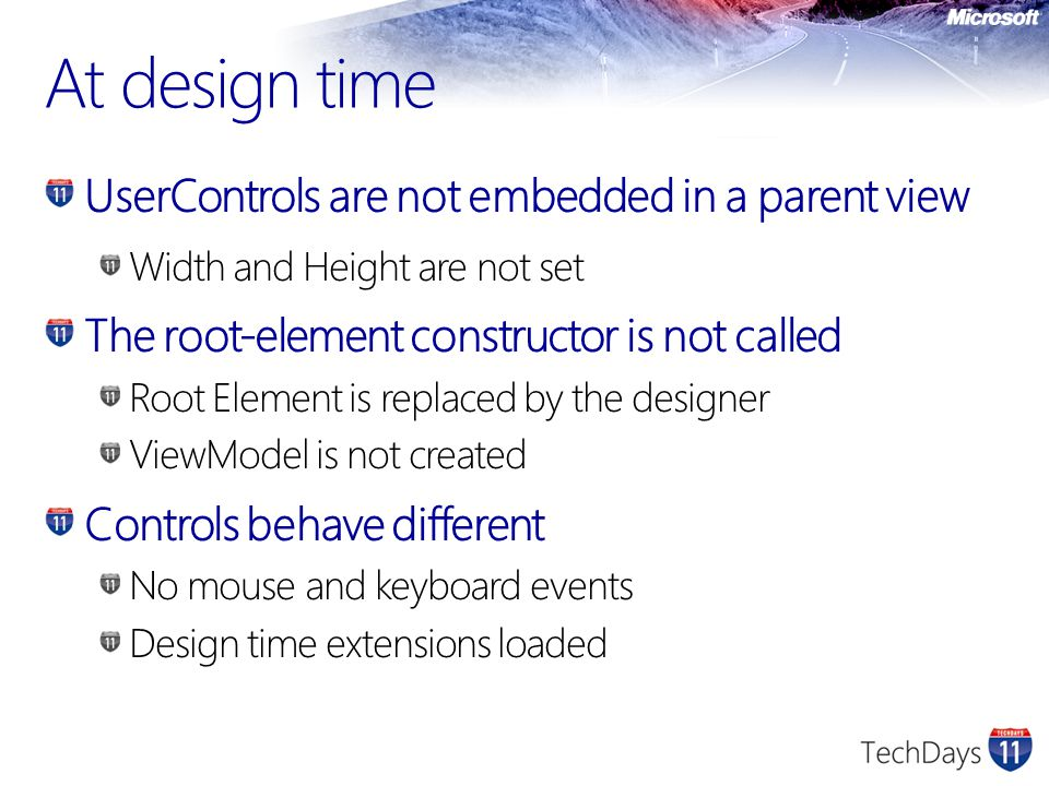 At design time UserControls are not embedded in a parent view