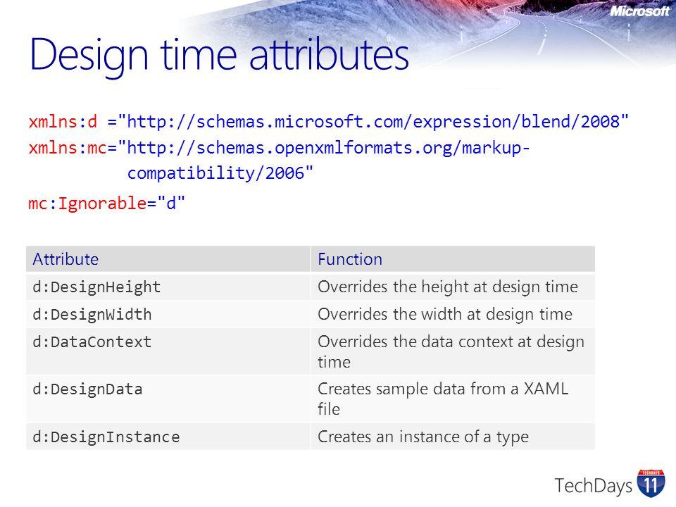 Design time attributes