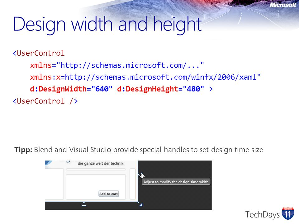 Design width and height