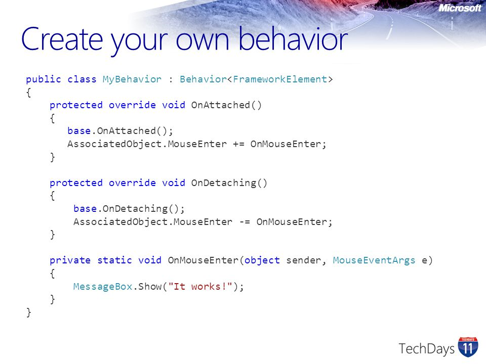 Create your own behavior