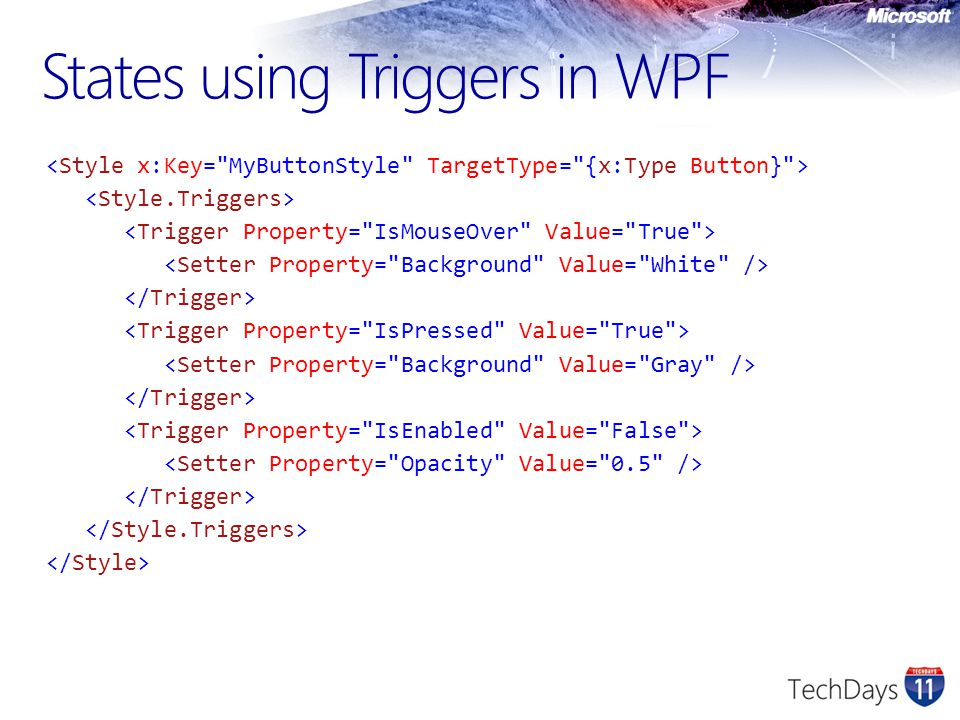 States using Triggers in WPF