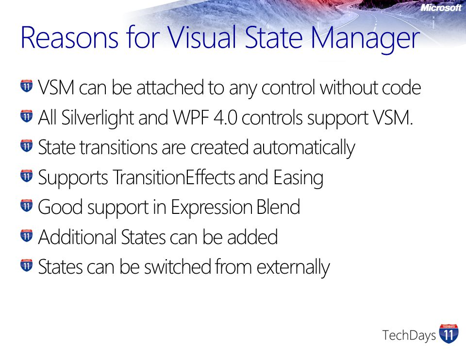 Reasons for Visual State Manager