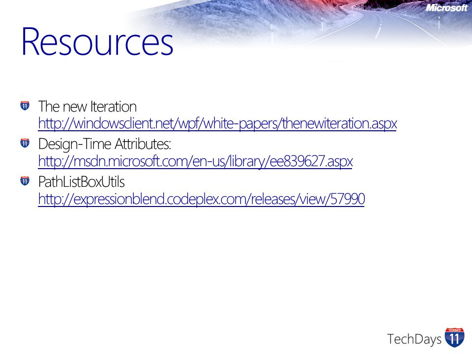 Resources The new Iteration http://windowsclient.net/wpf/white-papers/thenewiteration.aspx.