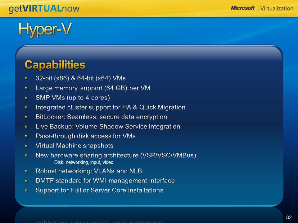 Hyper-V Capabilities 32-bit (x86) & 64-bit (x64) VMs
