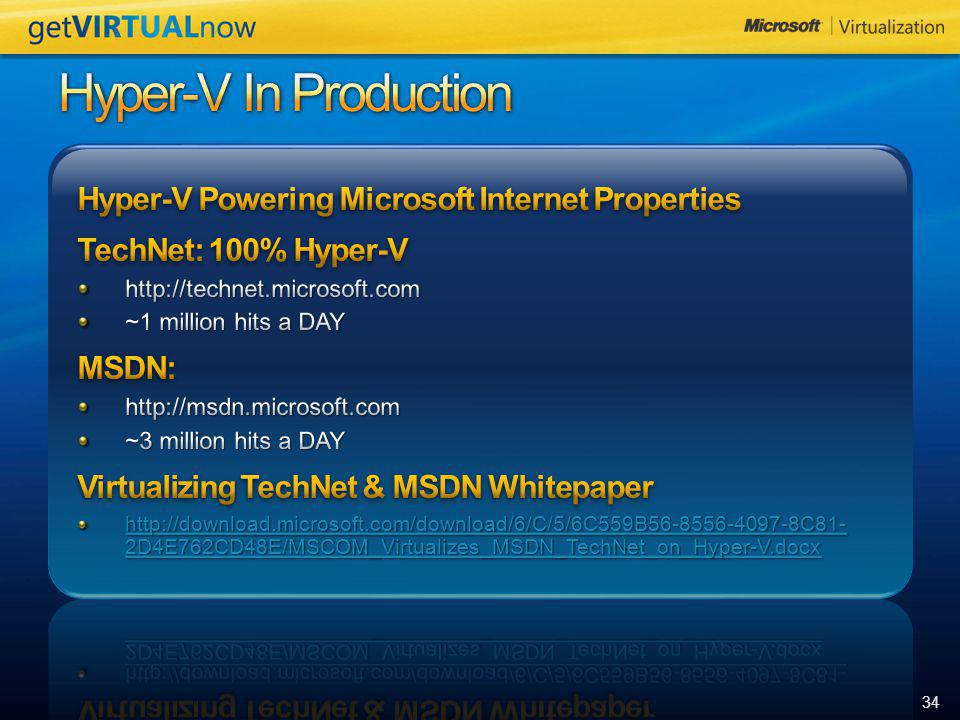 Hyper-V In Production Hyper-V Powering Microsoft Internet Properties