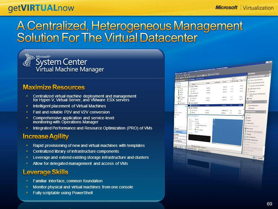 A Centralized, Heterogeneous Management Solution For The Virtual Datacenter