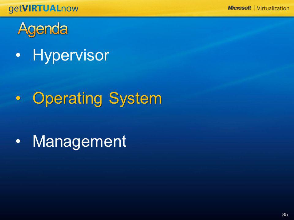 Agenda Hypervisor Operating System Management