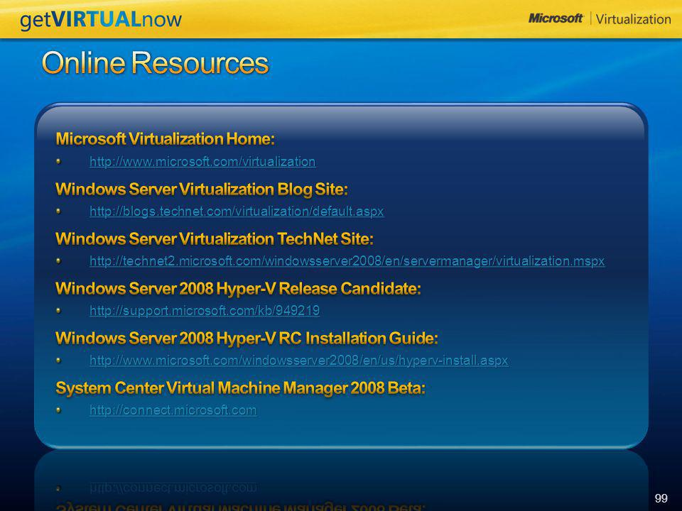 Online Resources Microsoft Virtualization Home: