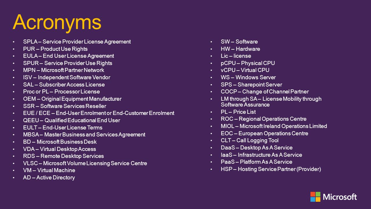 Acronyms SPLA – Service Provider License Agreement