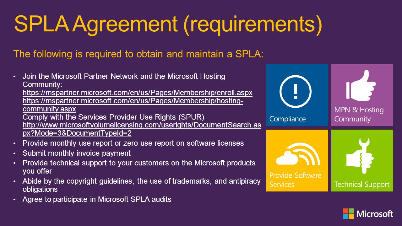 SPLA Agreement (requirements)