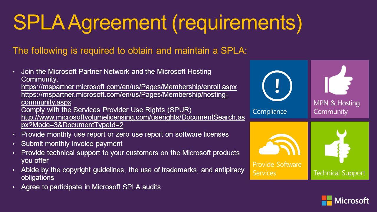 SPLA Agreement (requirements)