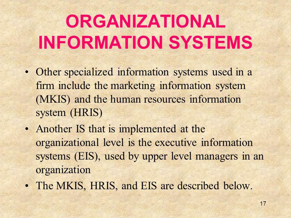 ORGANIZATIONAL INFORMATION SYSTEMS