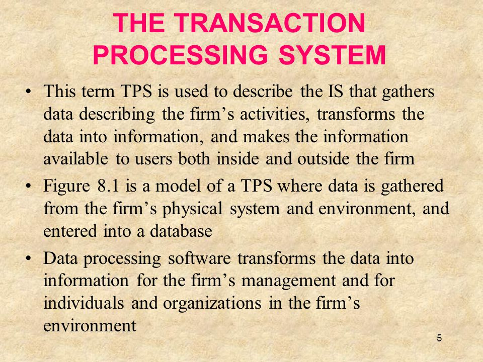 THE TRANSACTION PROCESSING SYSTEM