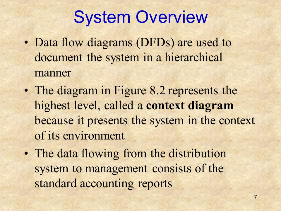System Overview Data flow diagrams (DFDs) are used to document the system in a hierarchical manner.