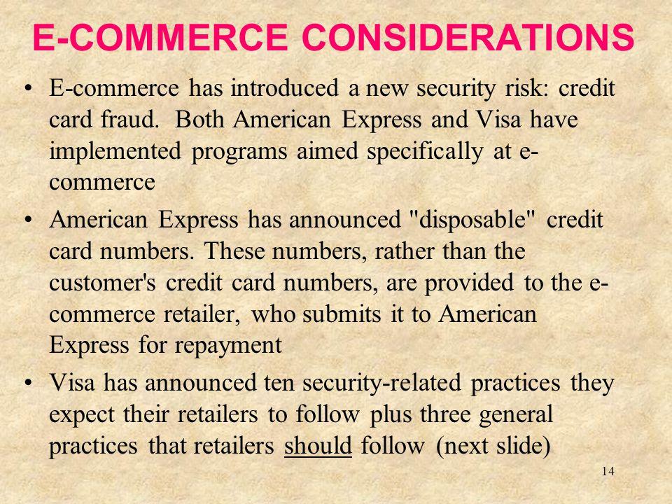E-COMMERCE CONSIDERATIONS
