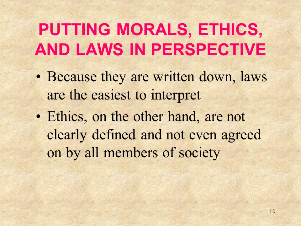 PUTTING MORALS, ETHICS, AND LAWS IN PERSPECTIVE