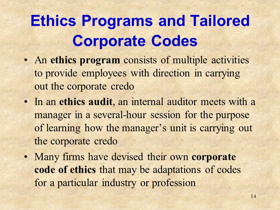 Ethics Programs and Tailored Corporate Codes