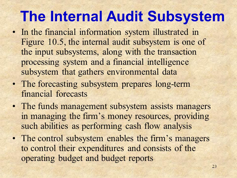 The Internal Audit Subsystem