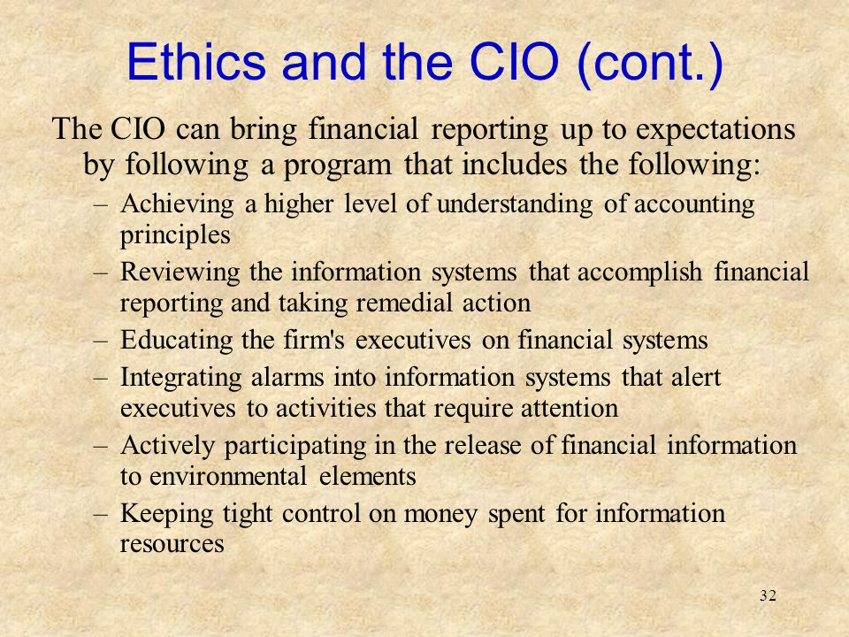 Ethics and the CIO (cont.)