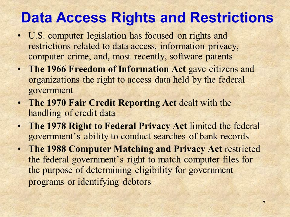 Data Access Rights and Restrictions