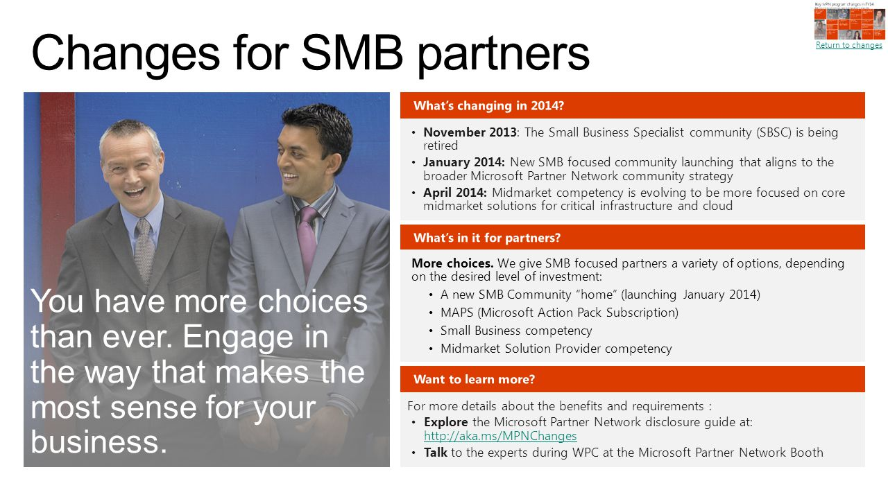 Changes for SMB partners