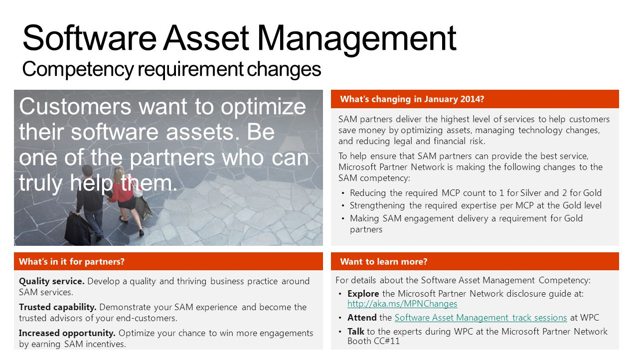 Software Asset Management Competency requirement changes