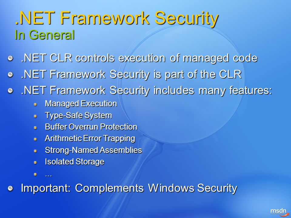 .NET Framework Security In General