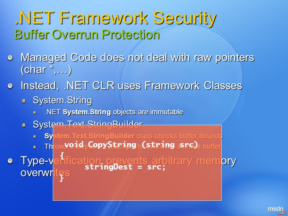 .NET Framework Security Buffer Overrun Protection