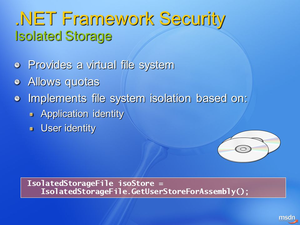 .NET Framework Security Isolated Storage