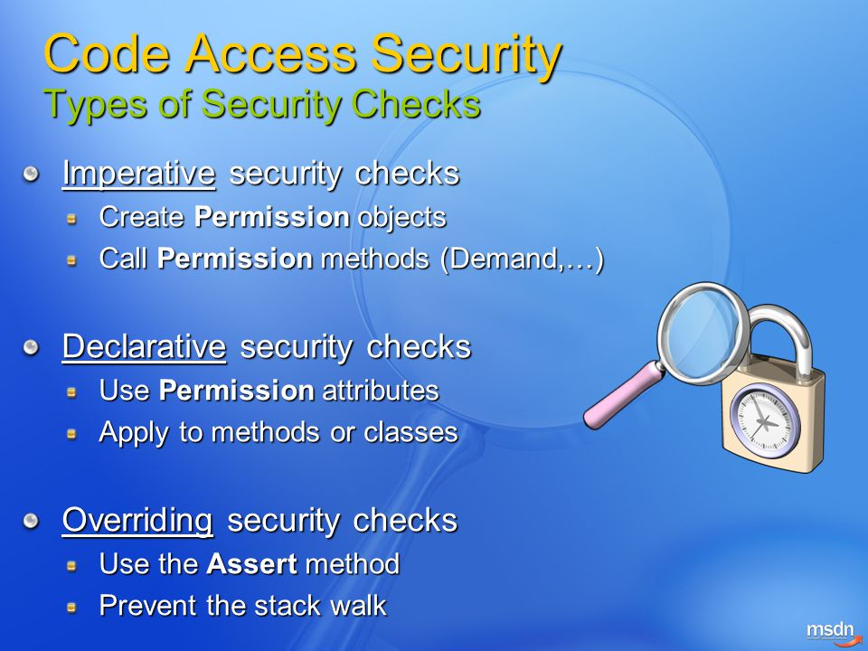 Code Access Security Types of Security Checks