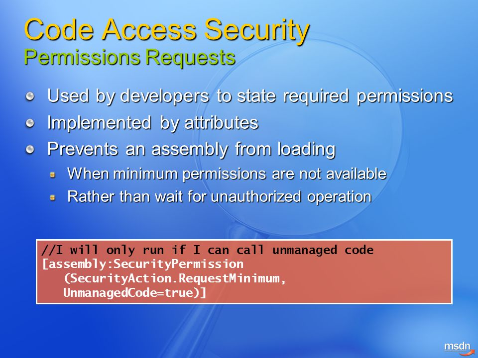 Code Access Security Permissions Requests