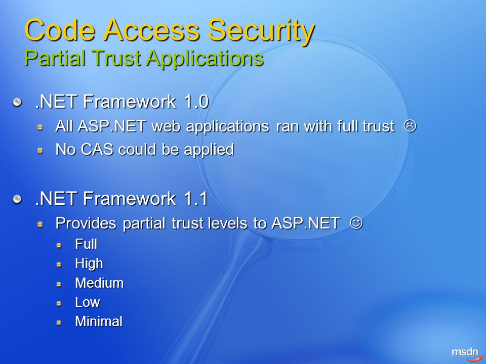 Code Access Security Partial Trust Applications