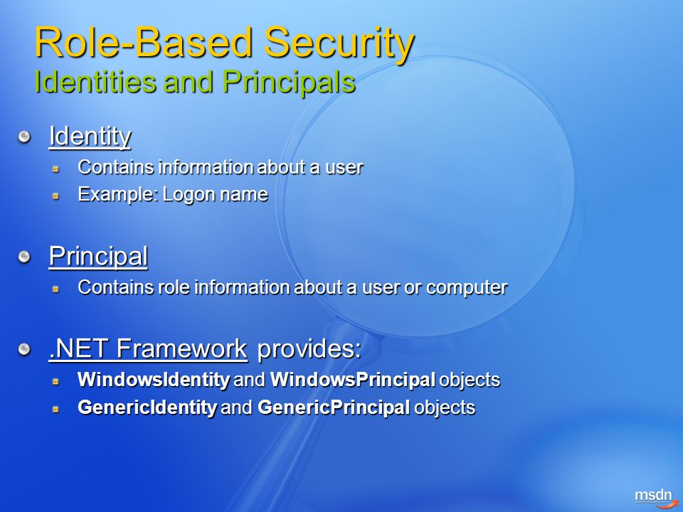 Role-Based Security Identities and Principals