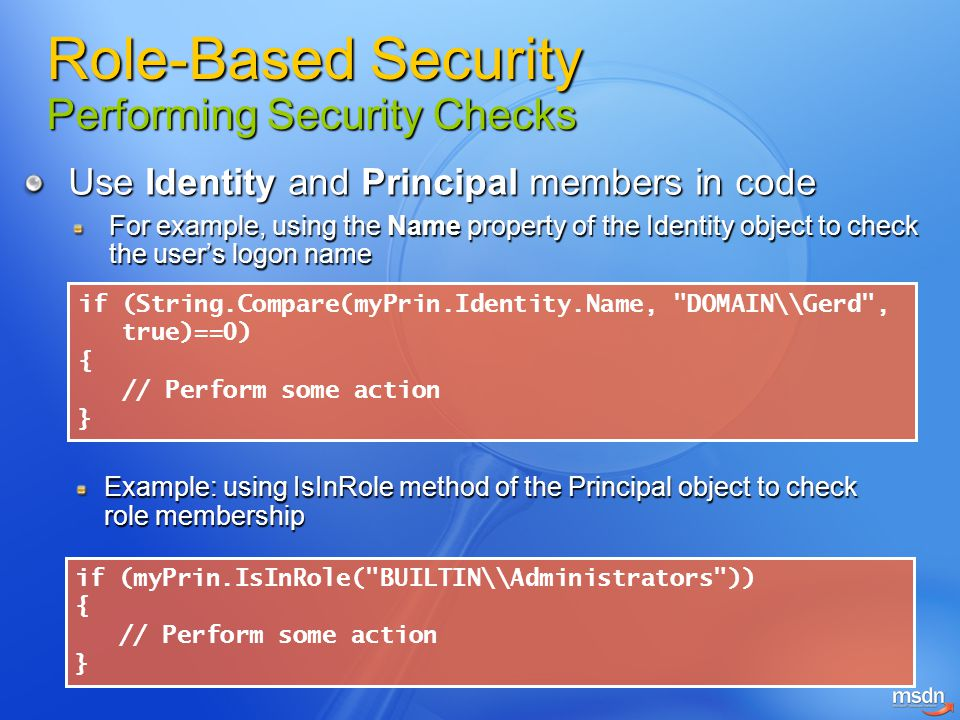 Role-Based Security Performing Security Checks